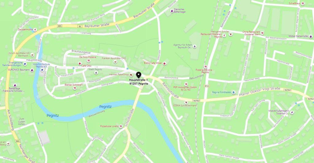 Kartenausschnitt Hauptstraße 1, 91257 Pegnitz